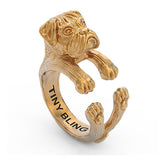 Boxer Breed Natural Ears Jewelry Cuddle Wrap Ring - TINY BLING