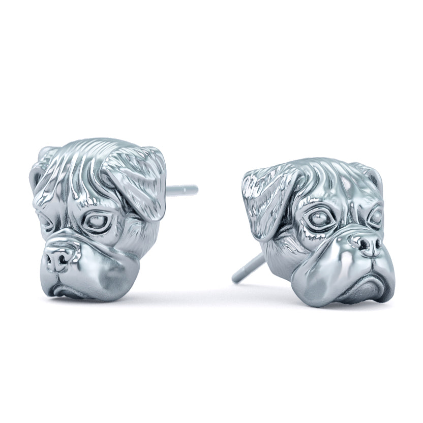 Boxer Puppy Face Earring Studs