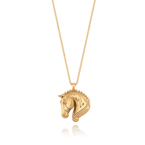 Diamond Braided Horse Head Pendant