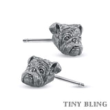 English Bulldog Face Earring Studs - TINY BLING