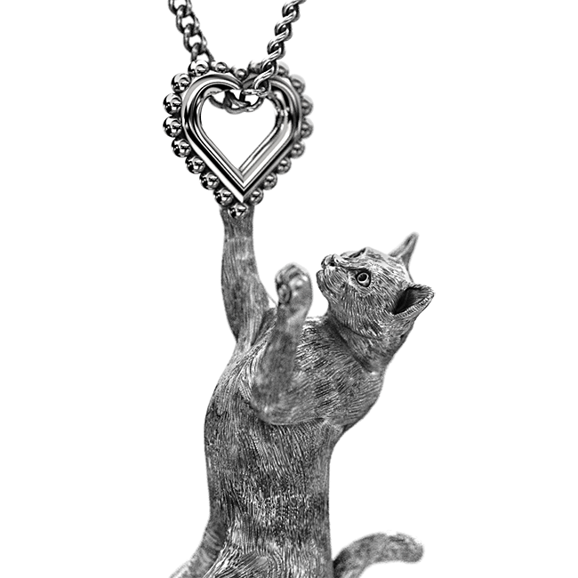 Kitty Cat Heart Charm - TINY BLING