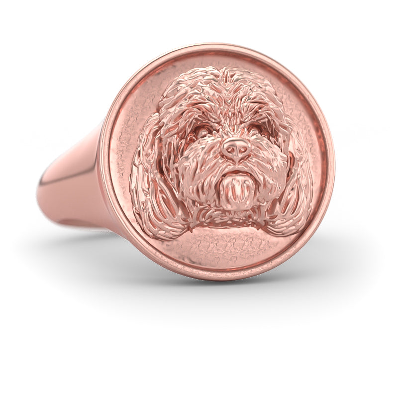 Cockapoo Breed Classic Round Signet Ring