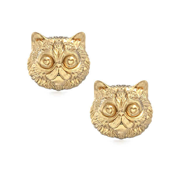 Persian Love Kitty Face Earring Studs