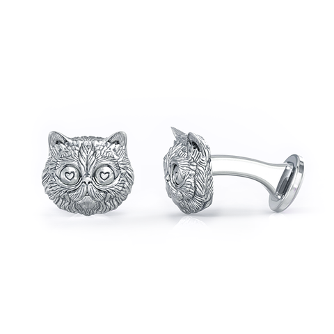 Fluffy Persian Love Cat Face Cufflinks
