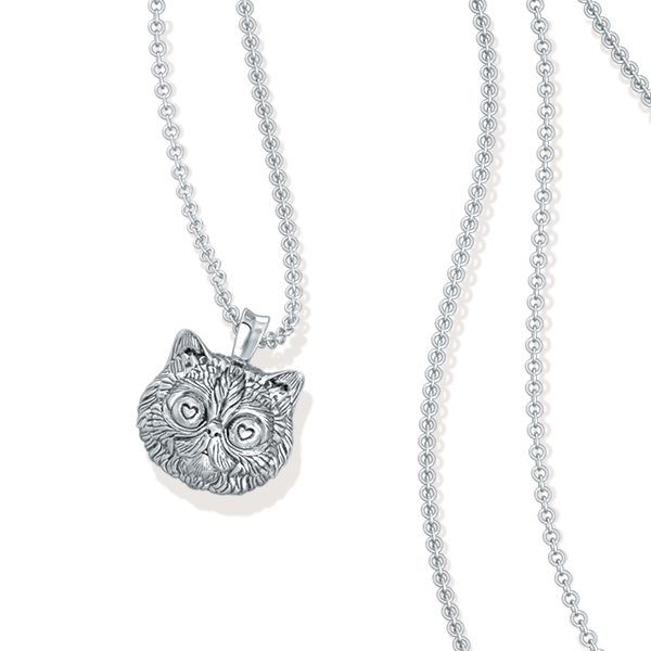 Fluffy Persian Love Cat Face Pendant