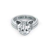Domestic Cat Face Feline Signet Ring