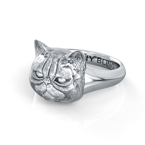 Exotic Short Hair Persian Cat Face Feline Signet Ring