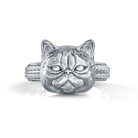Exotic Short Hair Persian Cat Face Feline Ring