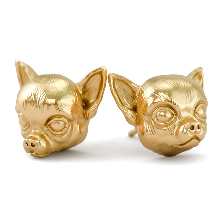 Chihuahua Face Earring Studs