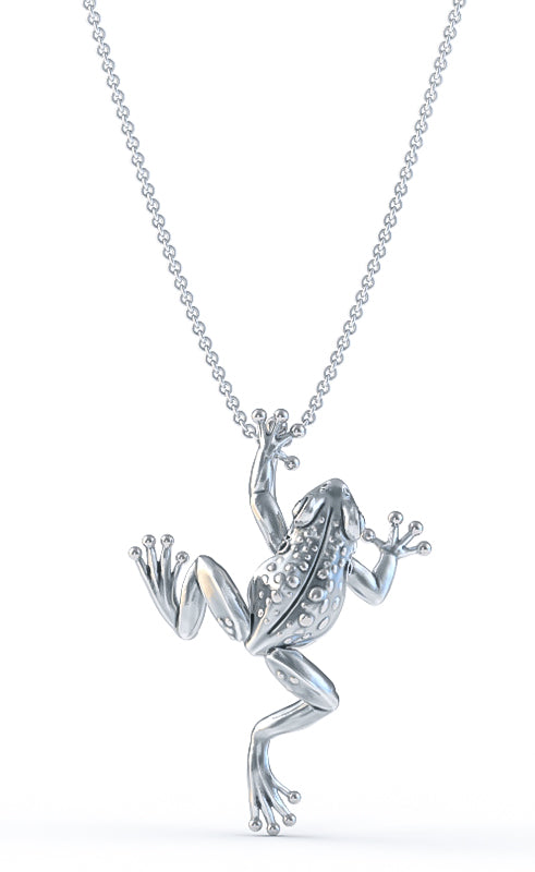 Tiny Climbing Frog Diamond Necklace