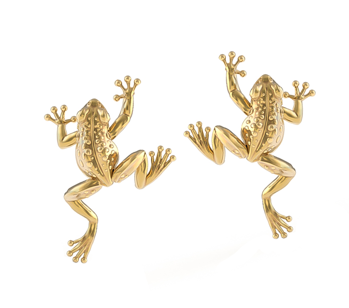 Ting Climbing Frog Earring Studs