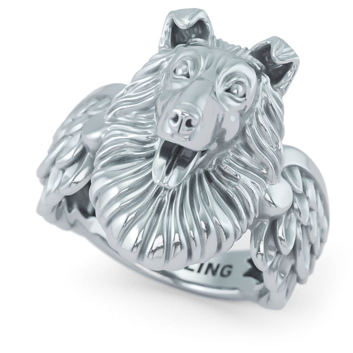 Rough Collie Angel Wings Memorial Ring