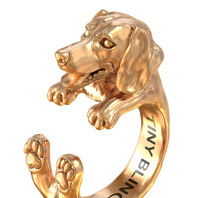 Dachshund Jewelry Cuddle Wrap Ring - TINY BLING