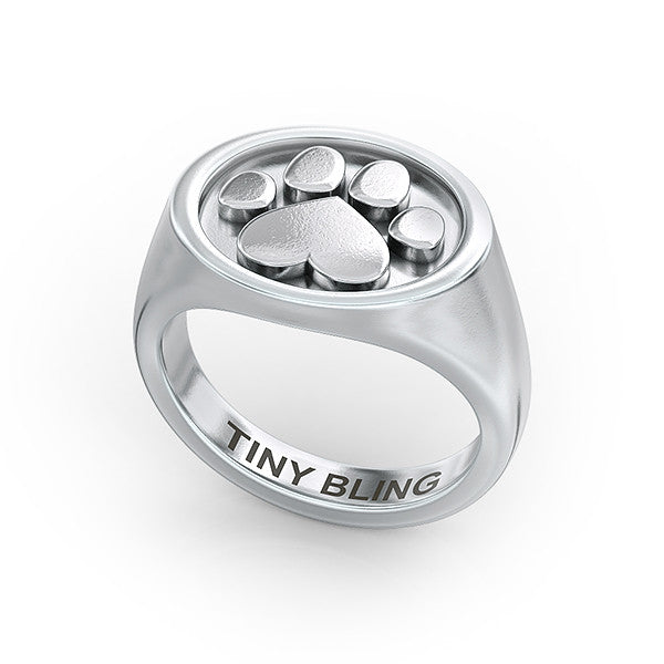 Daisy Paw Print Oval Signet Ring - TINY BLING