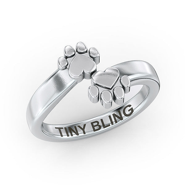 Deco Bypass Paw Print Ring - TINY BLING