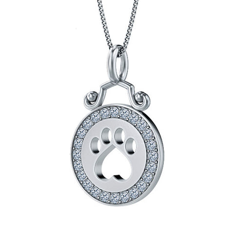 Diamond Halo Paw Print Pendant - TINY BLING