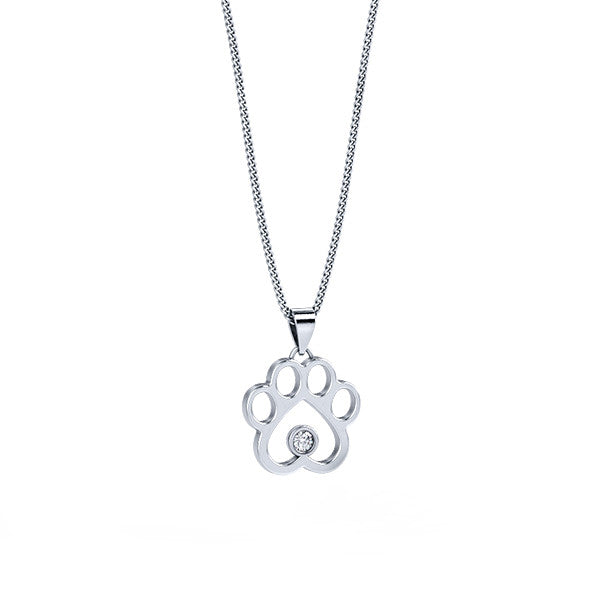 Mini Diamond Paw Print Pendant - TINY BLING