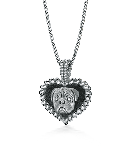 Pug Puppy Love Heart Pendant