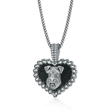 Schnauzer Puppy Love Heart Pendant