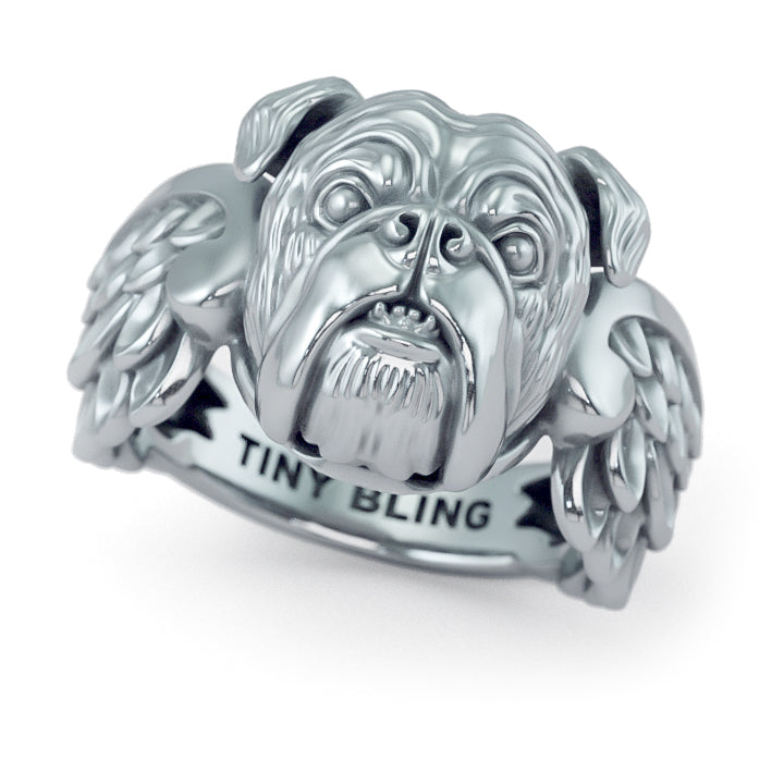 English Bulldog Angel Wings Memorial Ring