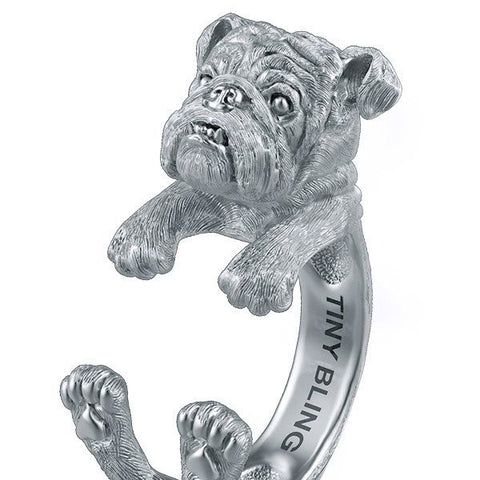 Grumpy English Bulldog Jewelry Cuddle Wrap Ring - TINY BLING
