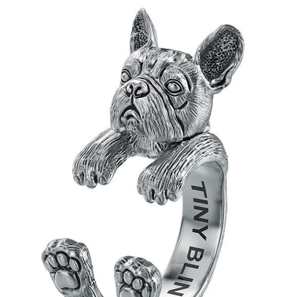 French Bulldog Puppy Jewelry Cuddle Wrap Ring