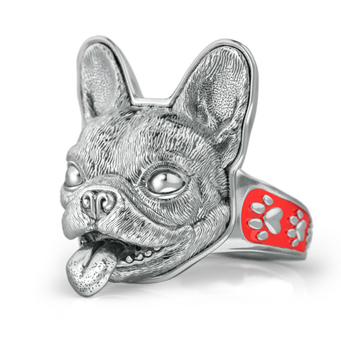 French Bulldog Face Signet Ring- Serling Silver