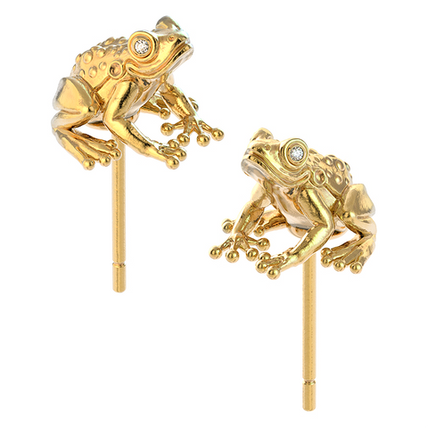Frog Sitting Diamond Earring Studs