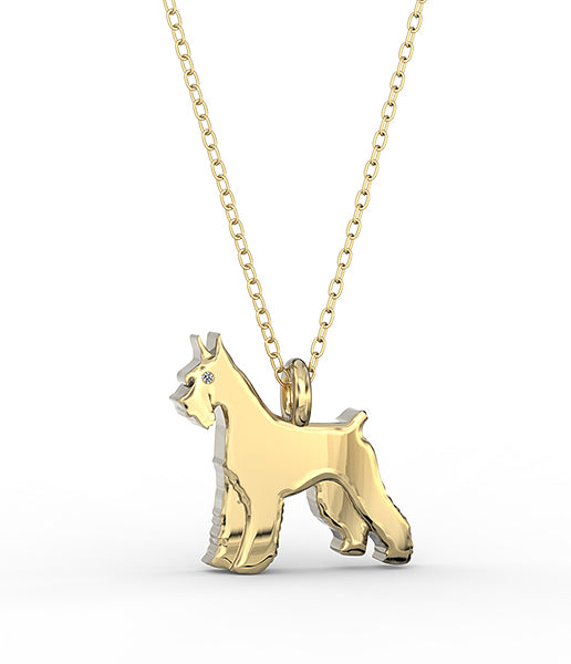 Giant Schnauzer Mini Pups Diamond Necklace gold