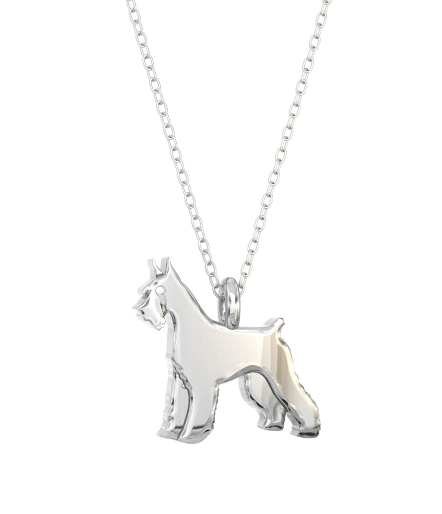 Giant Schnauzer Mini Pups Diamond Necklace sterling silver