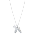 Giant Schnauzer Mini Pups Diamond Necklace white gold
