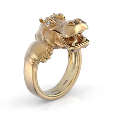 Happy Hippo Snuggle Ring-Yellow Gold 1