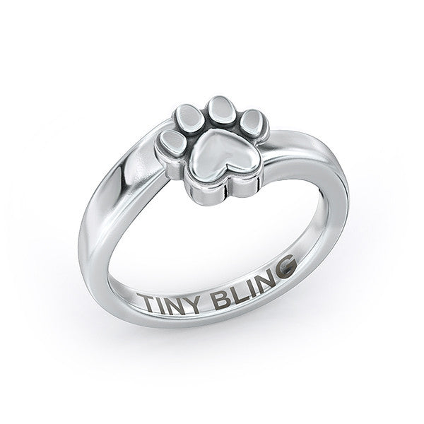 Hailey Bypass Paw Print Ring - TINY BLING