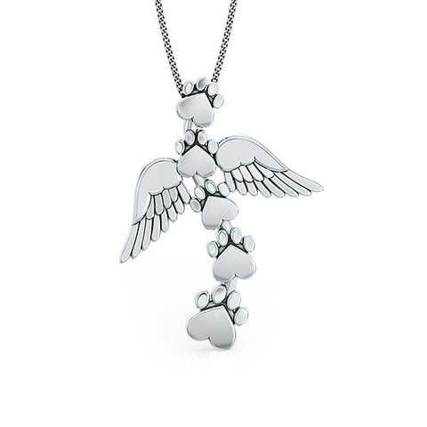 Heavenly Wings Paw Print Pendant - TINY BLING