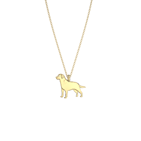 Labrador Retriever Mini Pups Diamond Necklace-gold