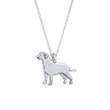 Labrador Retriever Mini Pups Diamond Necklace- sterling silver