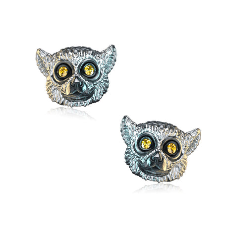 Ring-Tailed Lemur Diamond Earring Studs
