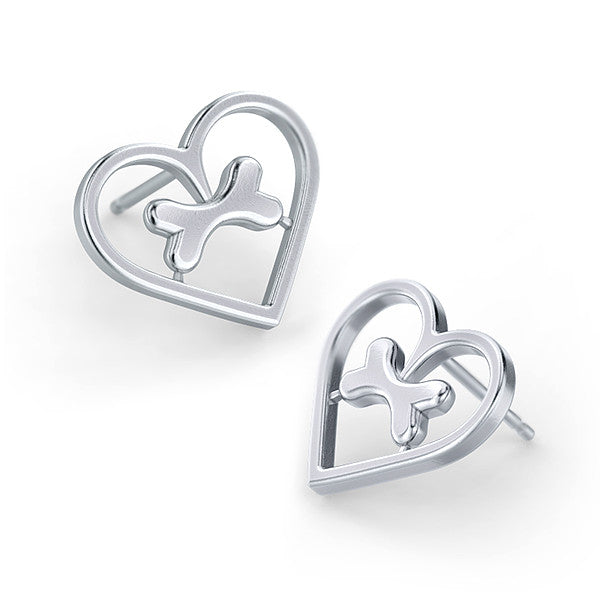 Lucky Bone Heart Frame Earrings - TINY BLING