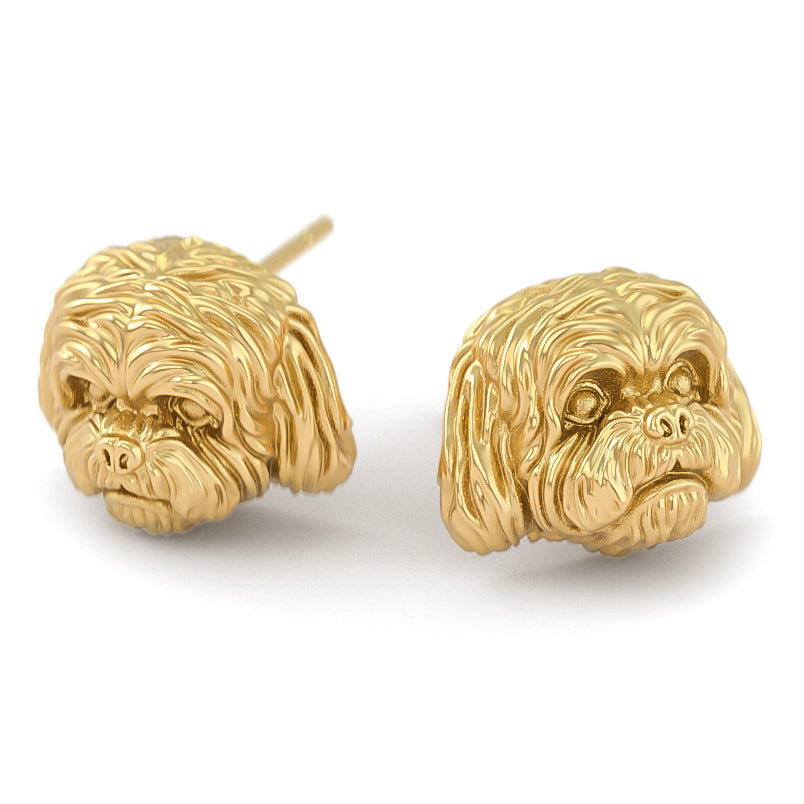 Maltese Puppy Face Earring Studs