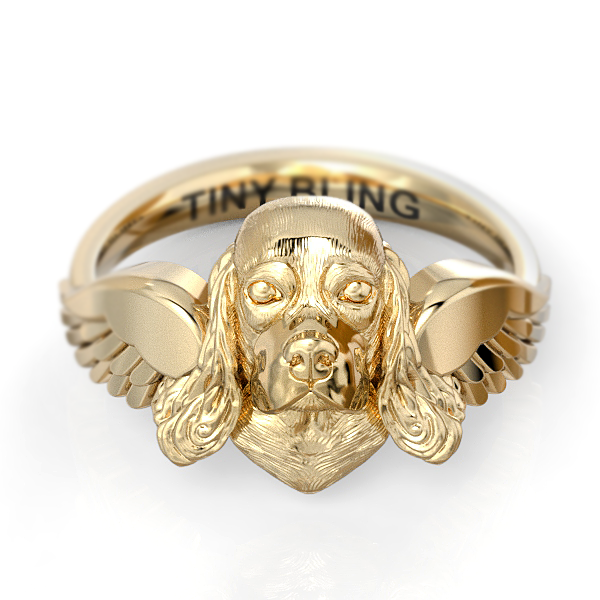 Cocker Spaniel Angel Wings Memorial Ring