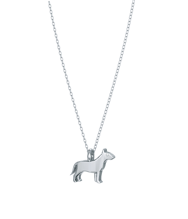 Bull Terrier Mini Pups Diamond Necklace wg