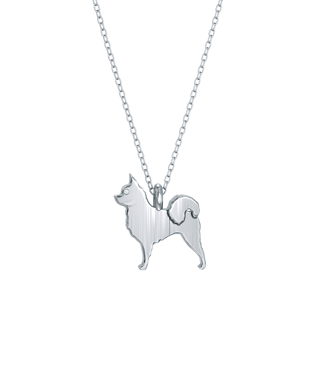 Chihuahua Long Hair Mini Pups Diamond Necklace Silver