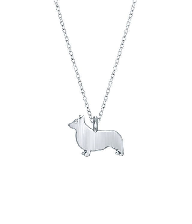 Corgi Mini Pups Diamond Necklace Silver