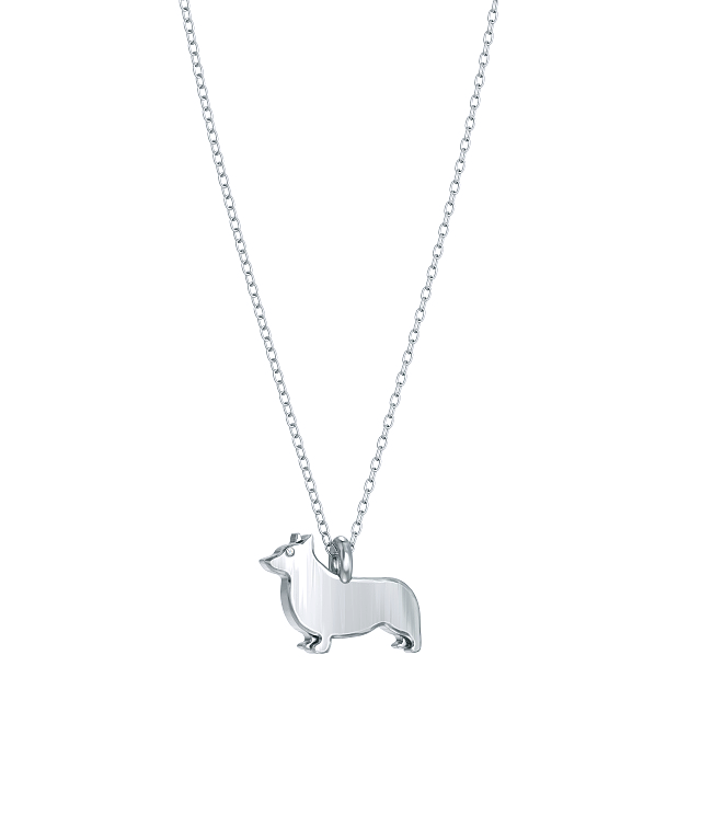 Corgi Mini Pups Diamond Necklace WG