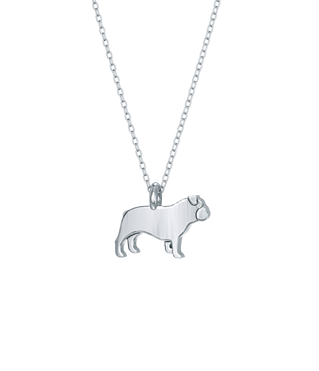 English Bulldog Mini Pups Diamond Necklace WG