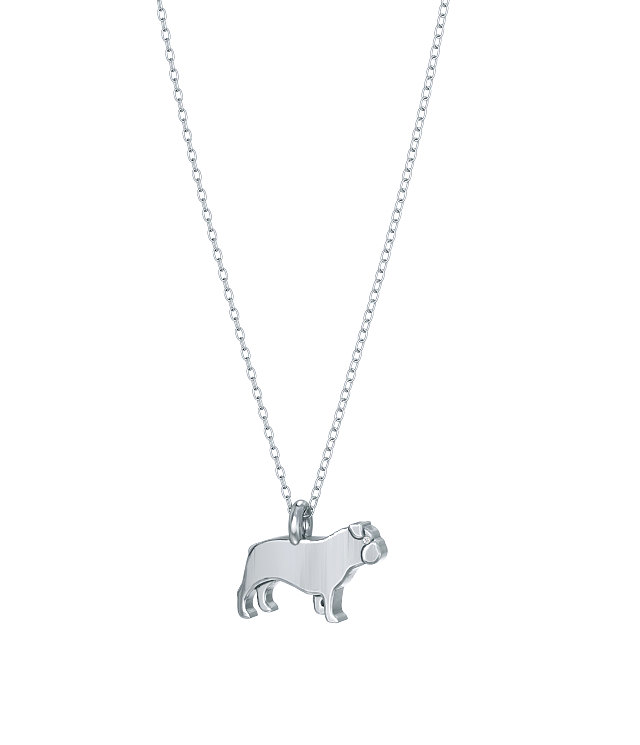 English Bulldog Mini Pups Diamond Necklace