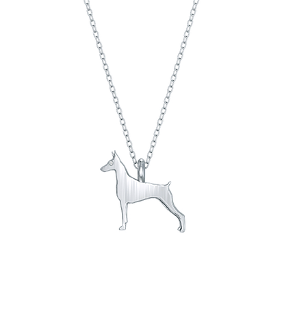 Doberman Pinscher Mini Pups Diamond Necklace Silver
