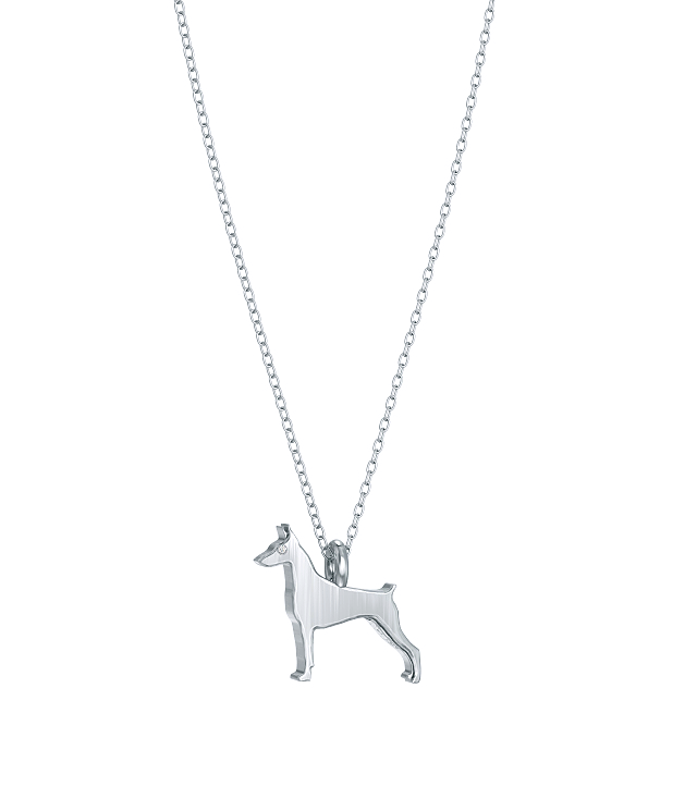 Doberman Pinscher Mini Pups Diamond Necklace wg
