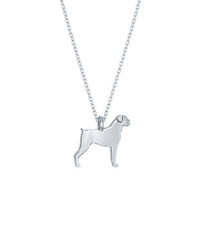 Boxer Mini Pups Diamond Necklace silver