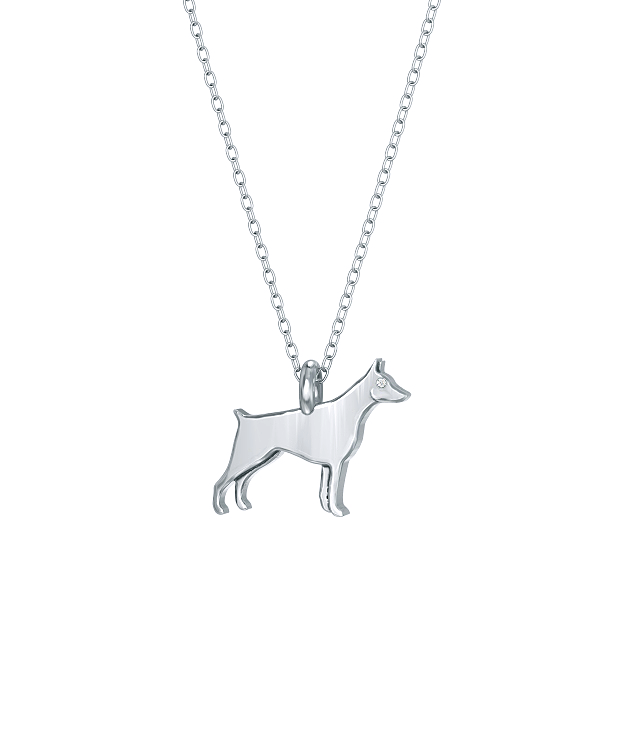 Miniature Doberman Pinscher Mini Pups Diamond Necklace silver